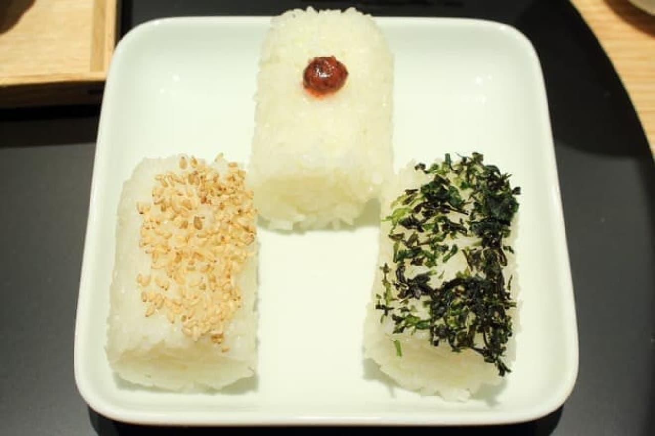 おだし東京、お椀のお膳のおむすび