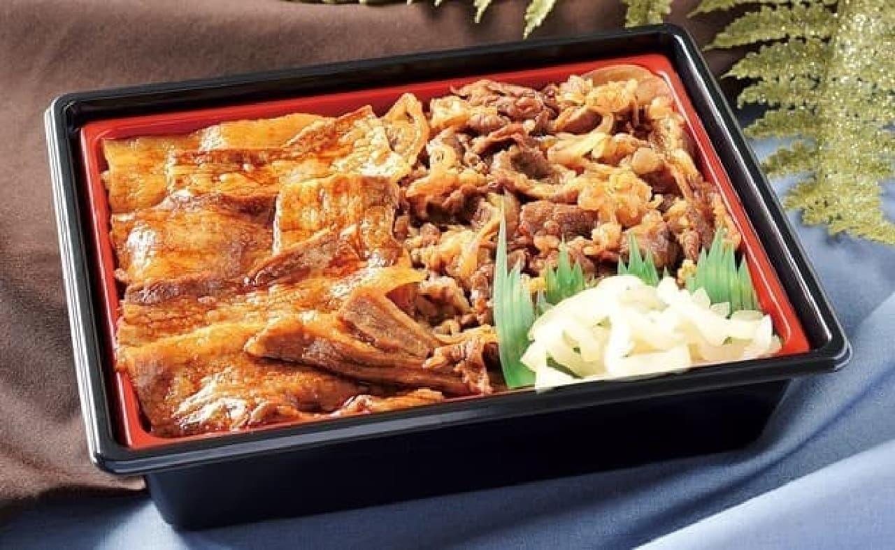 ローソン「神戸牛&炭火焼イベリコ豚重」