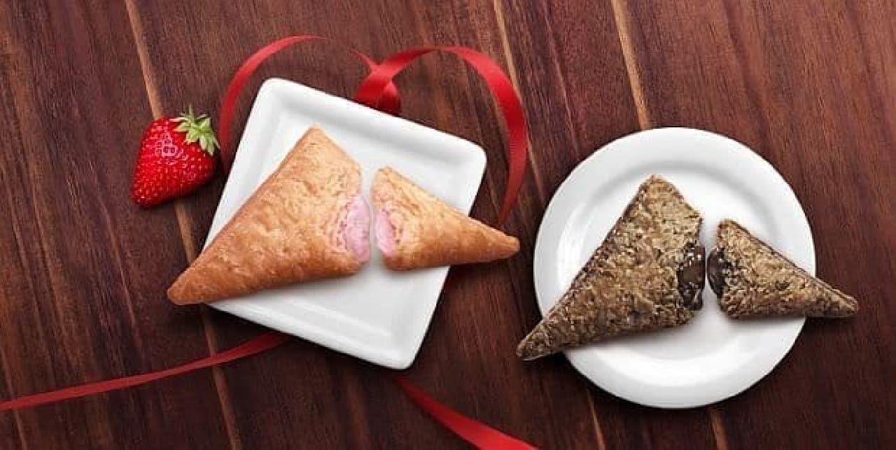 マクドナルド「三角いちごチョコパイ」と「三角チョコパイ 黒」