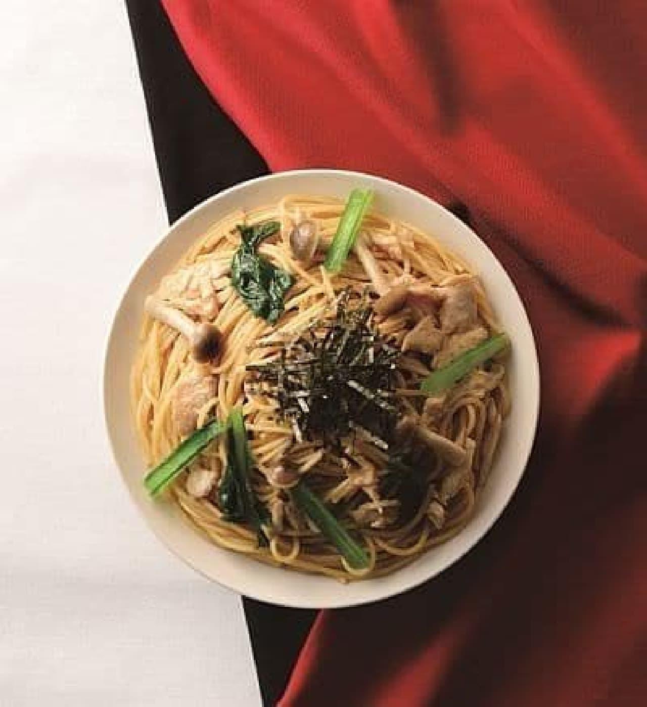 カフェ・ド・クリエ「パスタ 蒸し鶏と小松菜の焦がし醤油」
