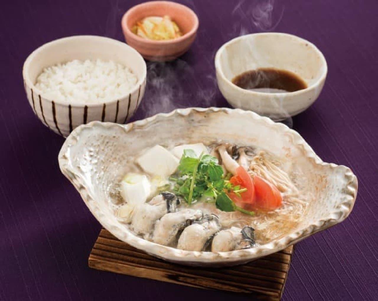 大戸屋「桃浦(もものうら)かきの出汁鍋定食」