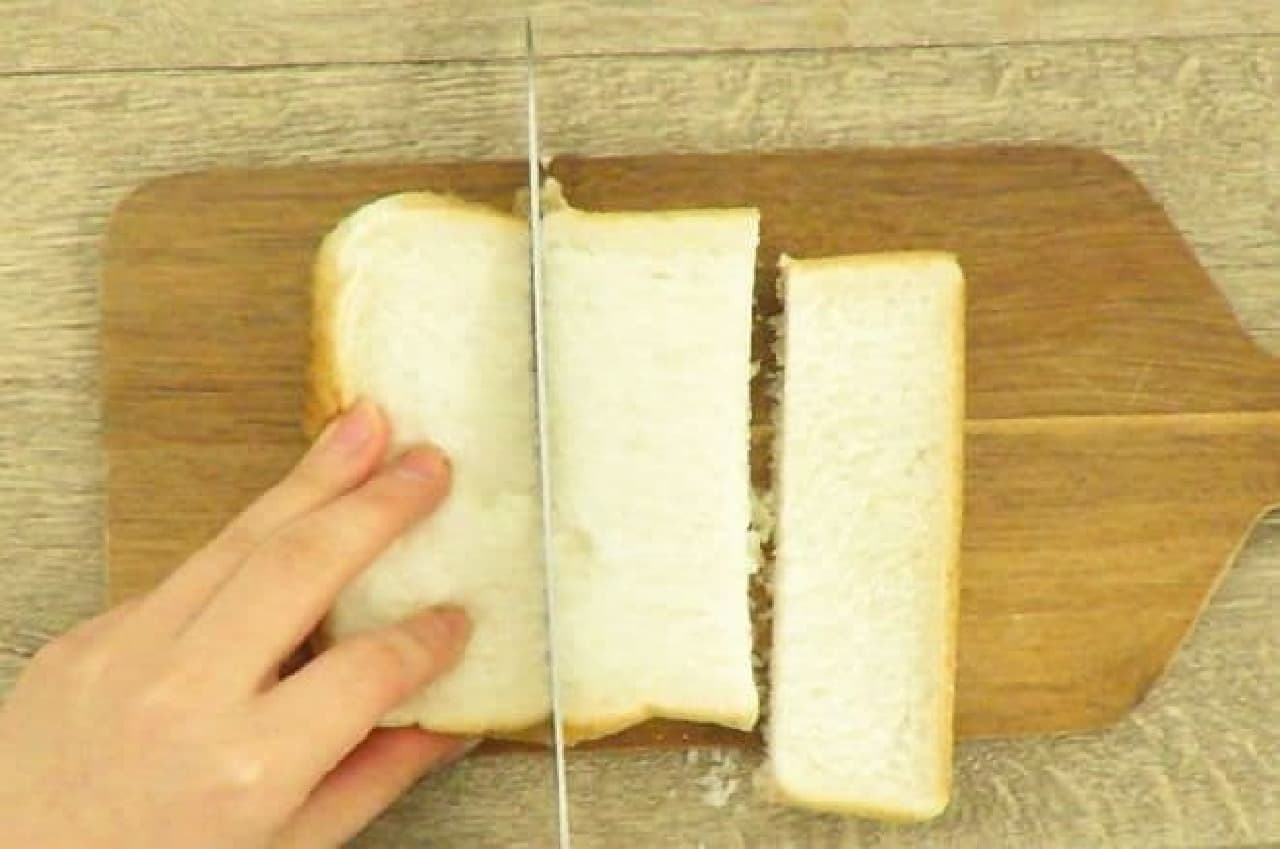 食パンを6等分に切るところ