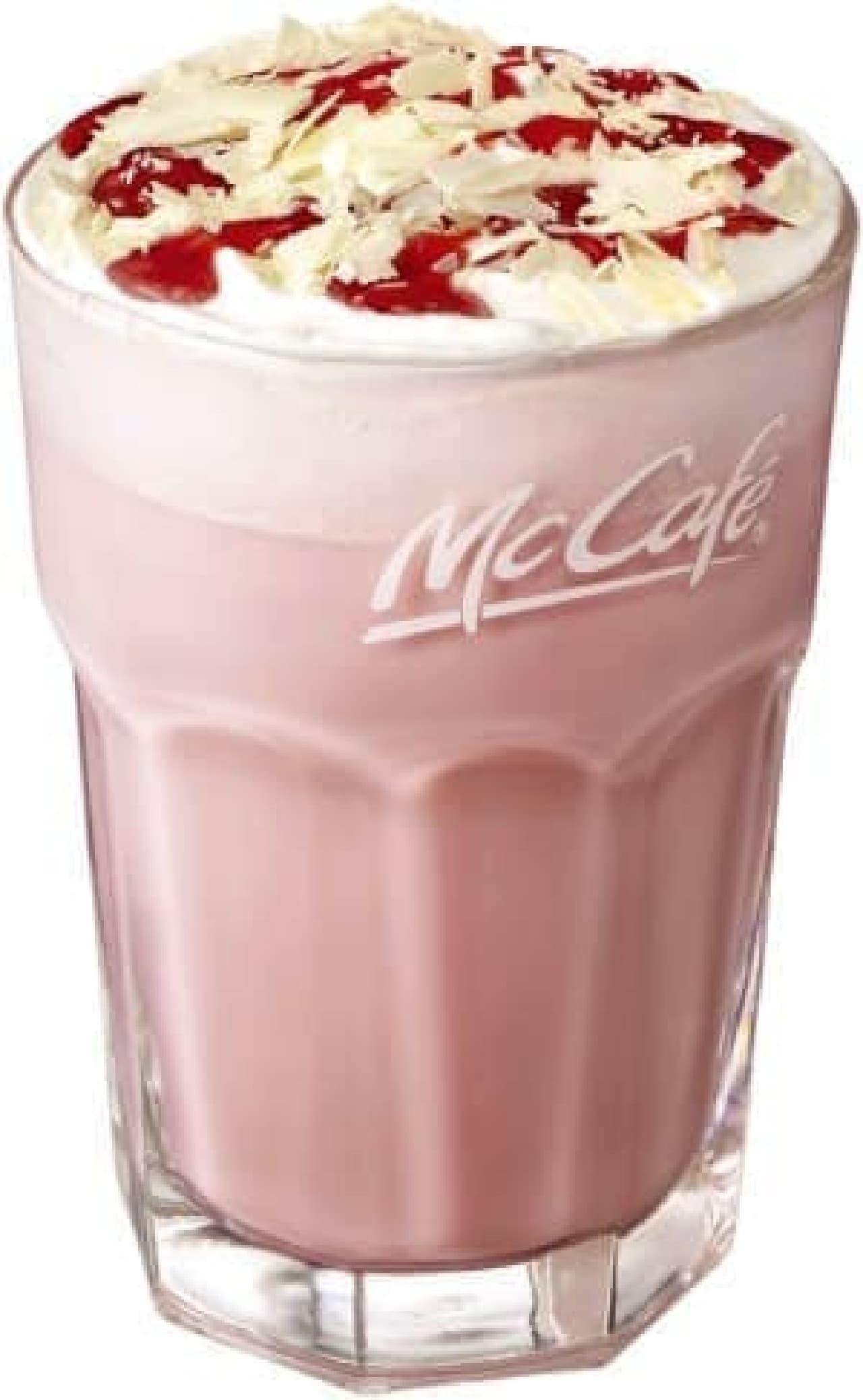 マックカフェ「ホワイトチョコストロベリーラテ」