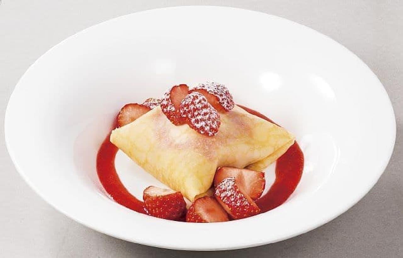 デニーズ「苺のクレープアイス」
