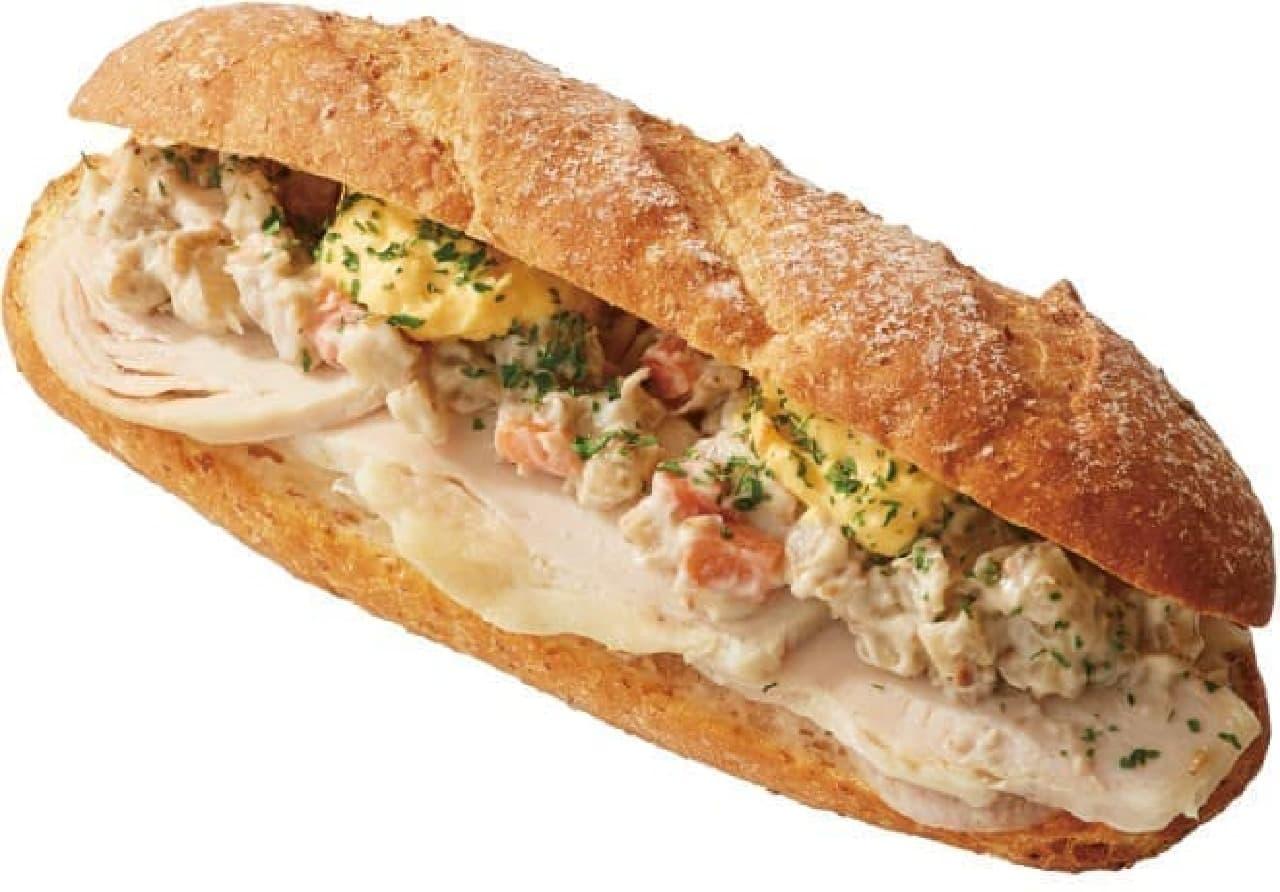 カフェ・ベローチェ「モーニングCセット ライ麦サンド 彩り根菜とチキン」