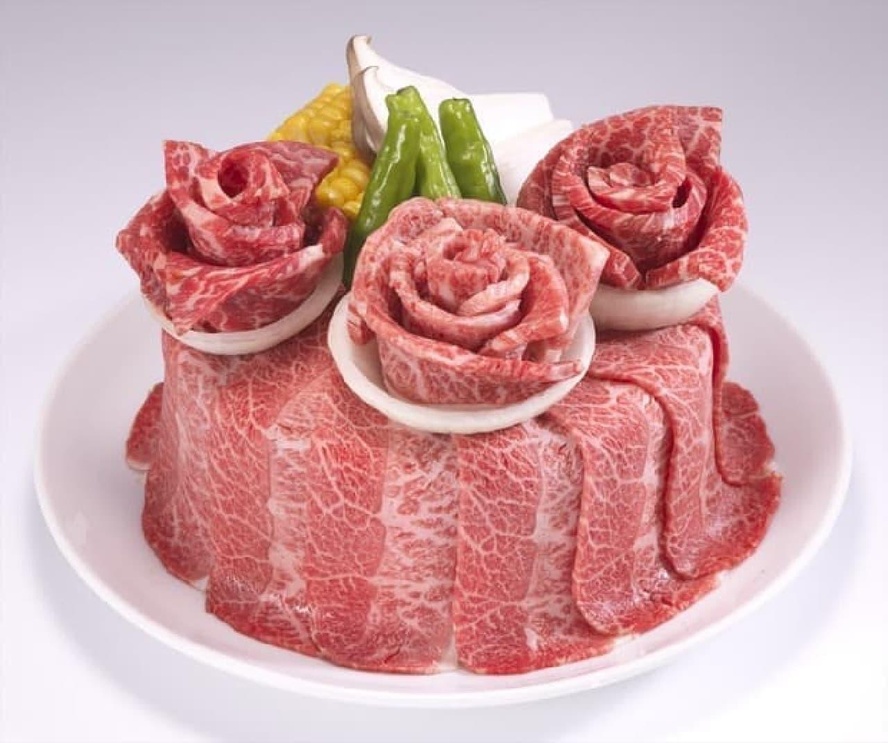 牛角 お祝い肉ケーキ