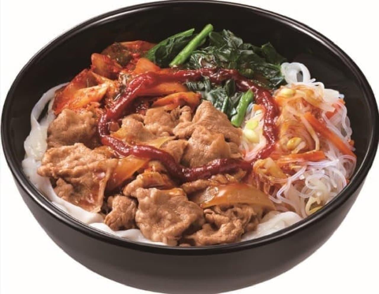 すき家「ロカボ牛ビビン麺」
