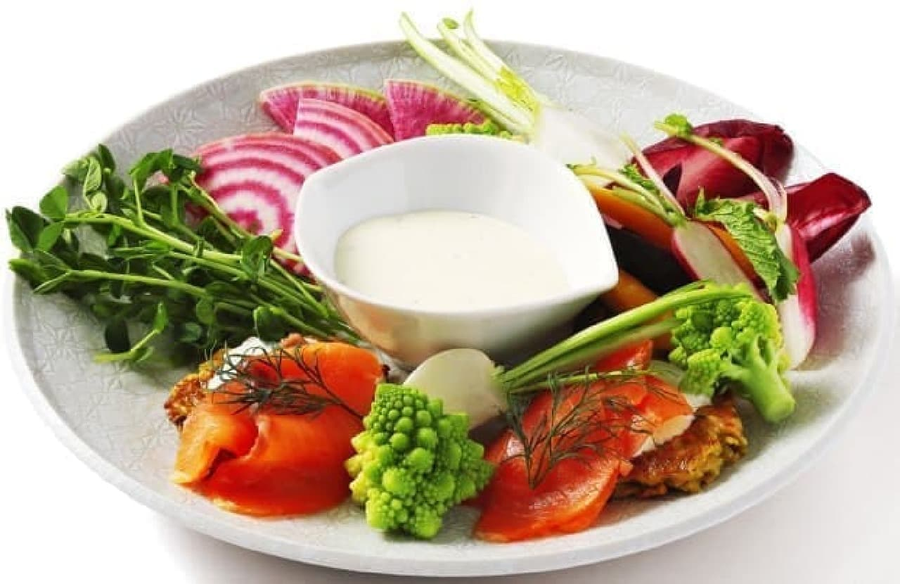 kiri cafe(キリカフェ)「スパゲッティ 季節野菜とサーモントラウトのkiriクリームチーズ トマト風味」