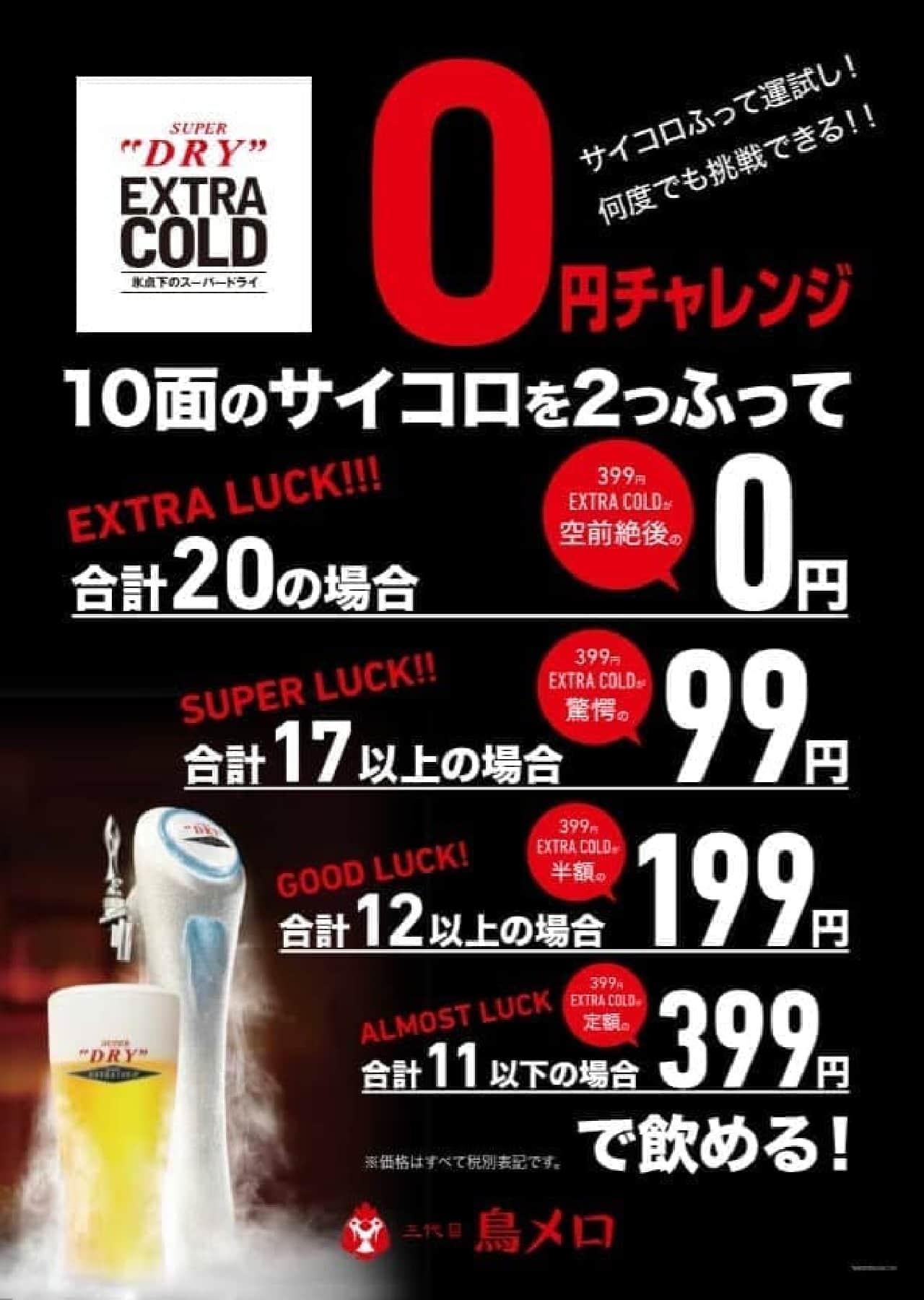 スーパードライエクストラコールドを最安0円で提供するサイコロチャレンジイベント