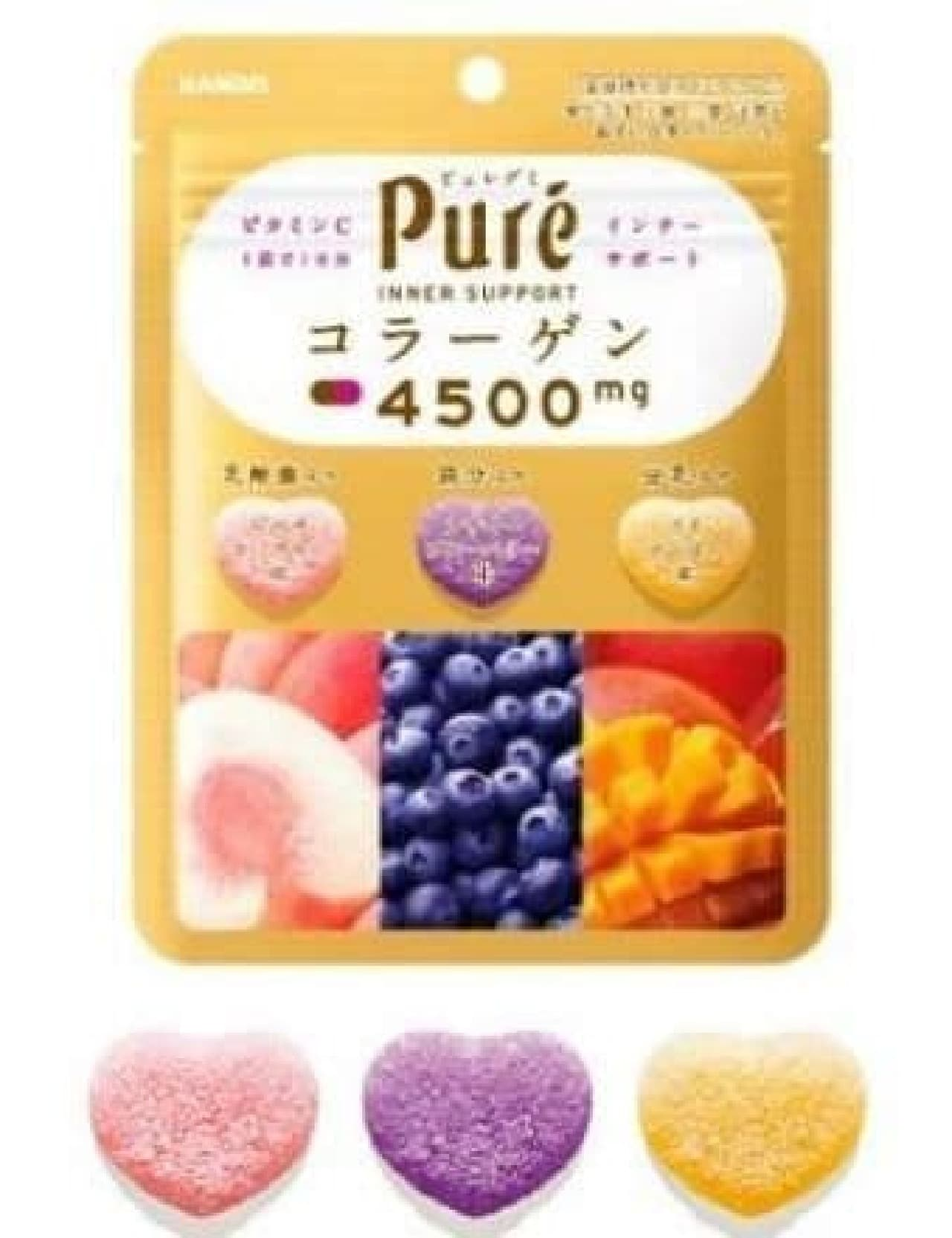 「ピュレグミ インナーサポート」は、1袋で3種の味を楽しめるピュレグミ初の3種アソートタイプグミ