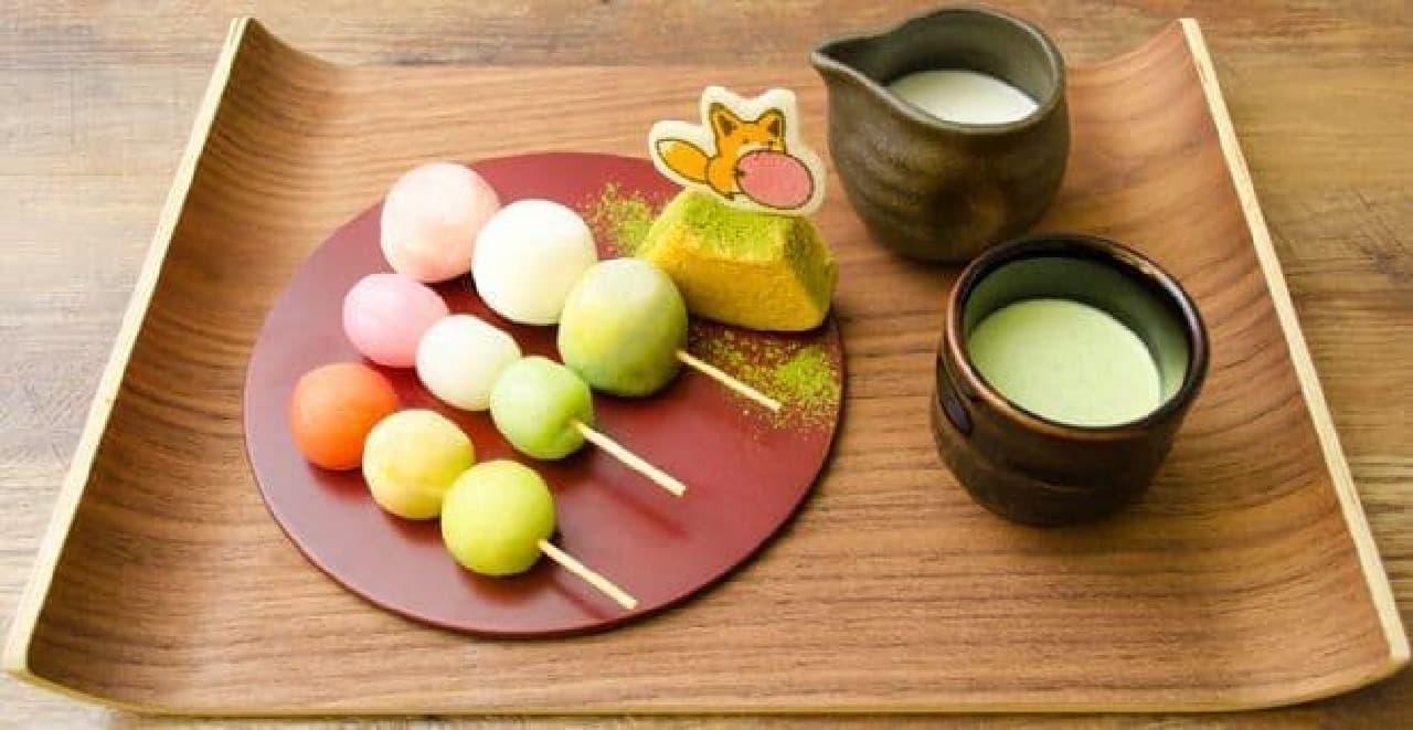 お団子、フルーツ、アイスで三色団子を表現したデザート