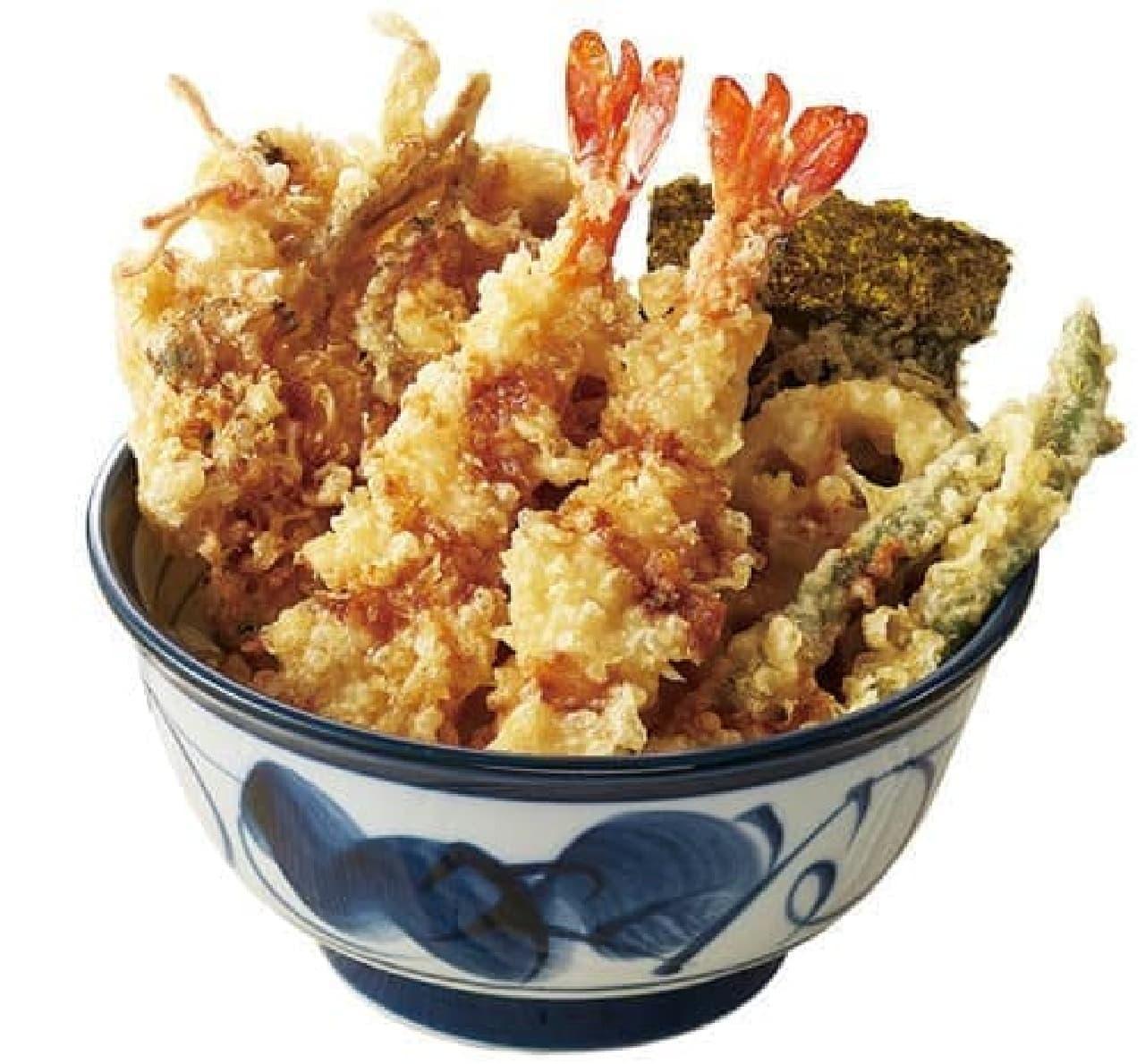 てんや「アサリごぼう・海老天丼」