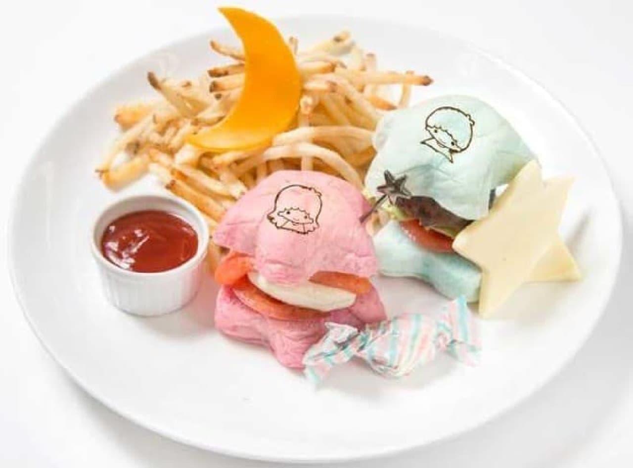 キキ&ララ カフェ「リトルツインスターズ ハンバーガープレート」