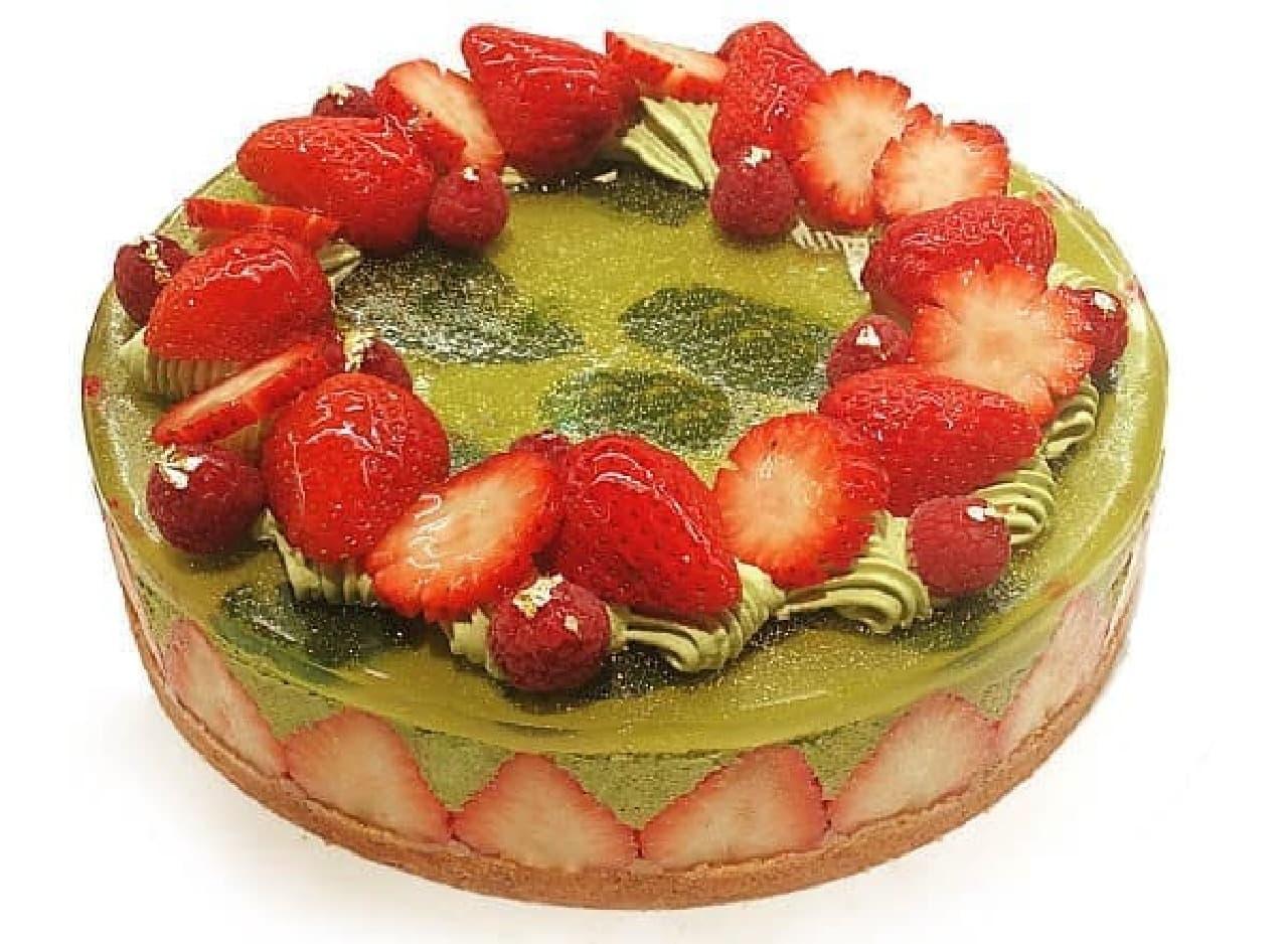 カフェコムサ「煎茶ムースといちごのケーキ」