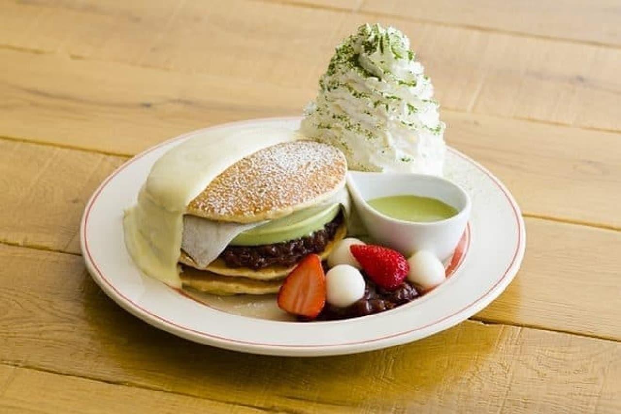 エッグスンシングス京都四条店限定「涼味広がる、宇治抹茶アイスパンケーキ」