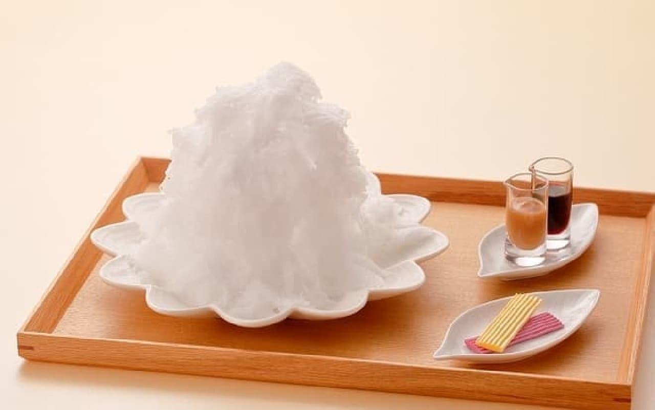 京都北山マールブランシュの天然氷「白い山 モンブランかき氷」