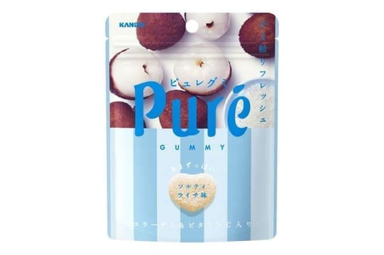 「ピュレグミ ライチ」は果汁と沖縄産海水塩を使用したリフレッシュグミ