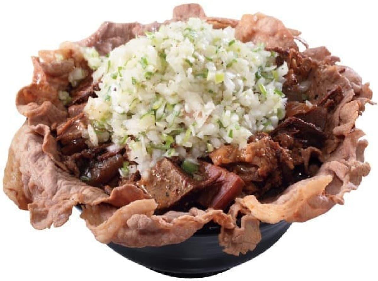 岡むら屋「ねぎ塩合盛肉めし」