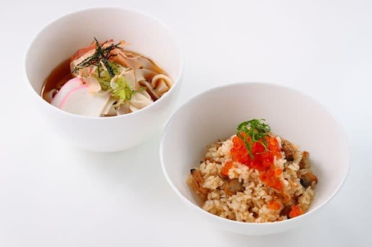 「冷やしきしめんと季節のごはん」は、夏仕様の冷やしきしめんとアサリご飯のセット