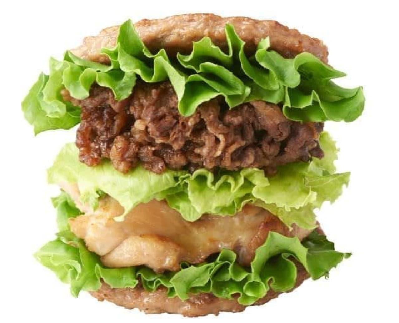 「にくにくにくバーガー」はバンズ(パン)の代わりにパティ(お肉)で具を挟んだバーガー