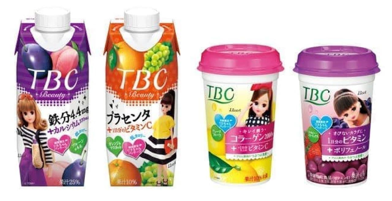 パッケージにリカちゃんがプリントされた「TBCドリンク」4種は「リカちゃん」がパッケージにプリントされたサプリメントドリンク