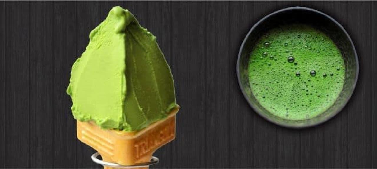 「大臣賞抹茶」は、全国茶品評会で農林水産大臣賞を受賞した「碾茶(てんちゃ)」を使った150本限定の高級抹茶ジェラート
