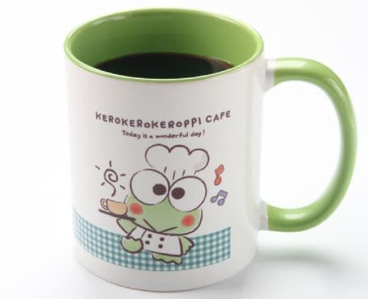 「けろけろけろっぴカフェ限定 デザインマグカップ付ドリンク」は、マグカップ付きのドリンク。