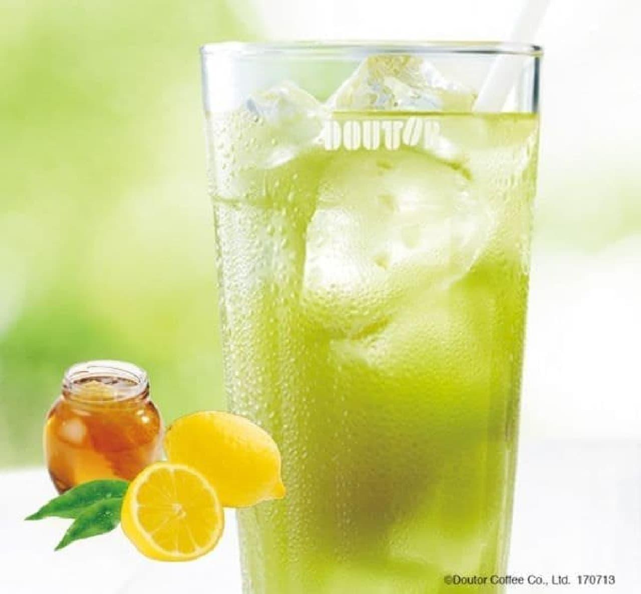 「グリーンレモティー ~瀬戸内レモン使用~」は、グリーンティーにはちみつレモンソースが加えられたドリンク