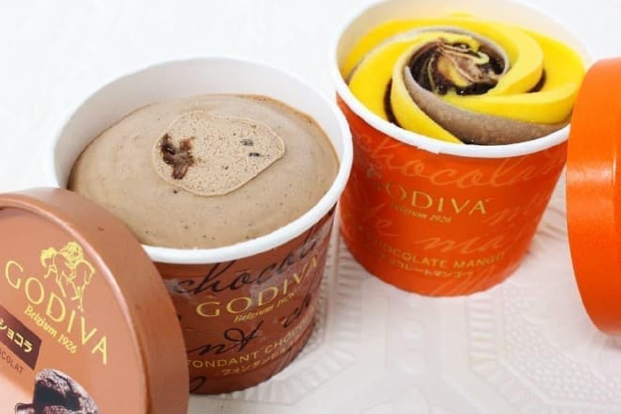 ゴディバカップアイス「フォンダンショコラ」と「ミルクチョコレートマンゴー」