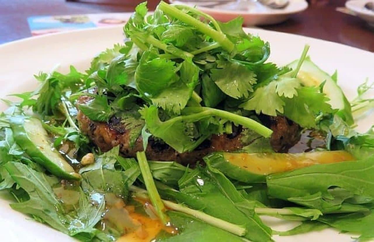 デニーズ「パクチーと緑野菜のアジアンハンバーグ」