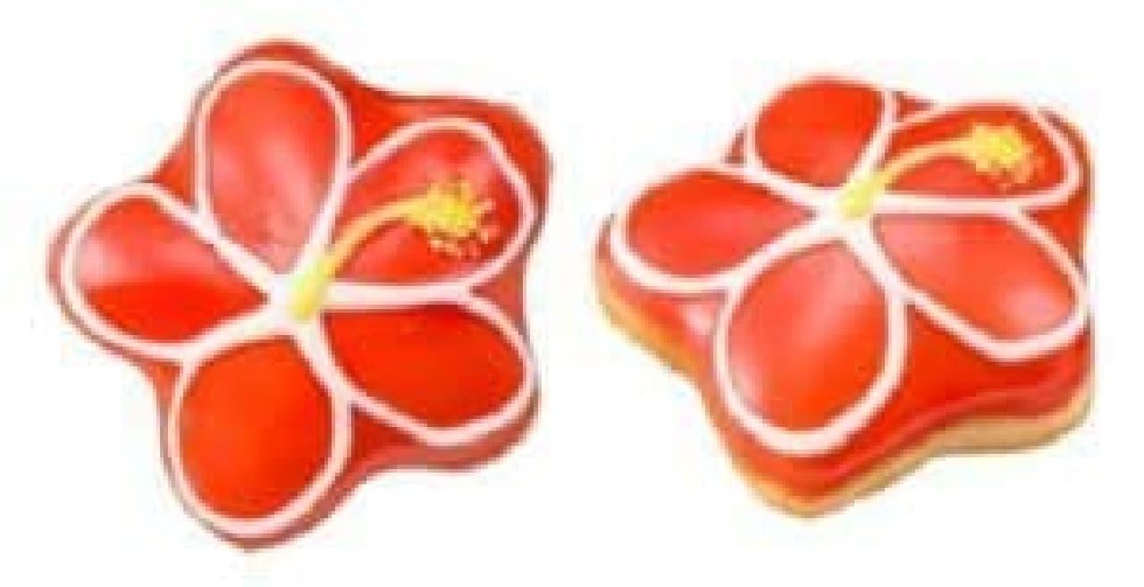 クリスピー・クリーム・ドーナツ「トロピカル ハイビスカス」は、ハイビスカスがデザインされたドーナツ