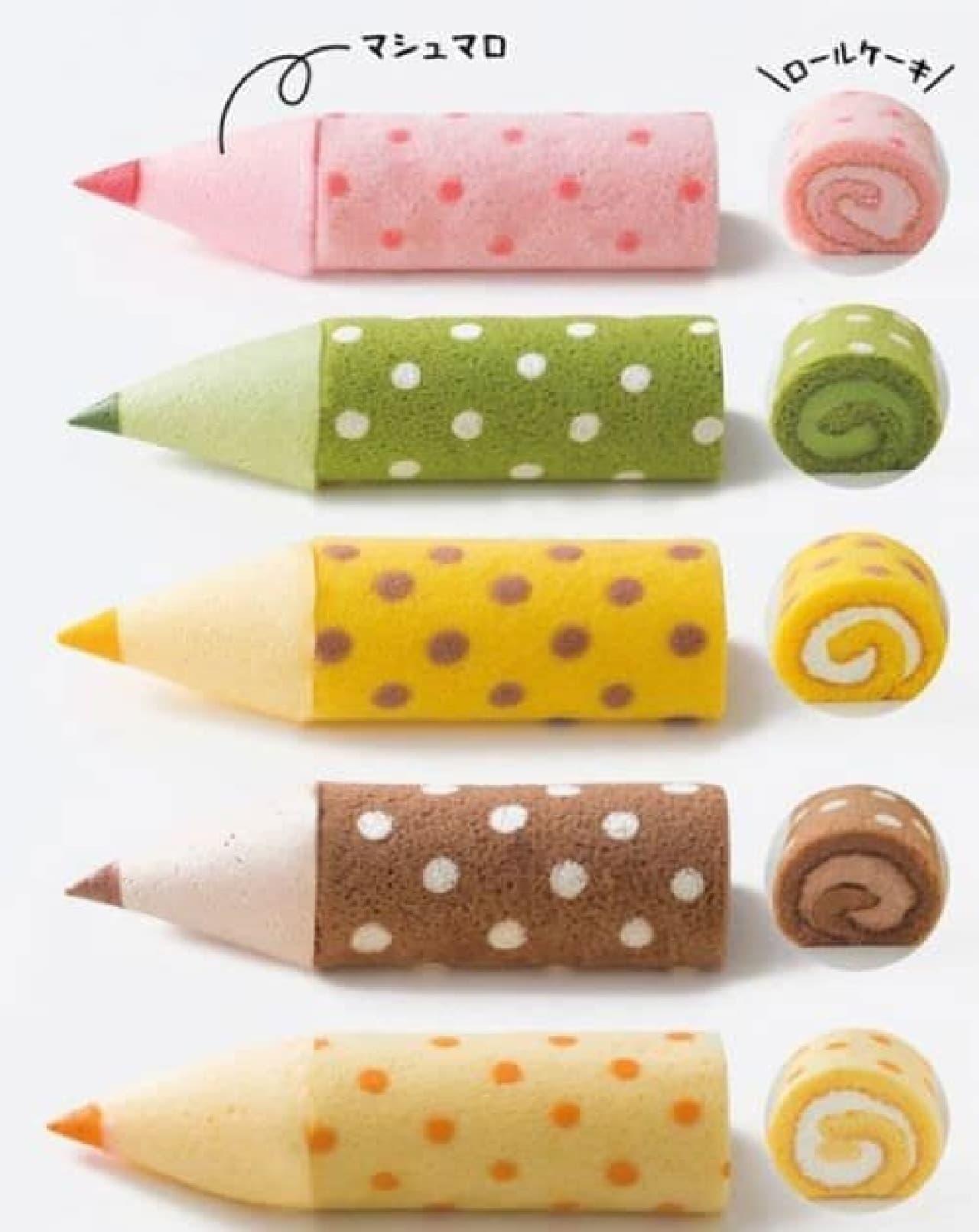 「色えんぴつろーる」はカラフルな色えんぴつに見立てられたロールケーキ