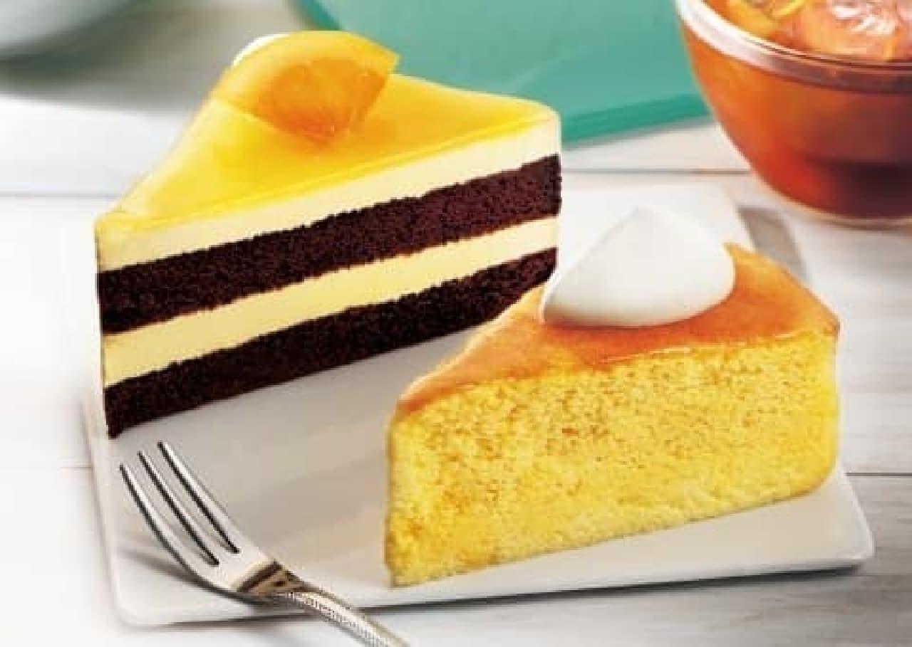 カフェ・ド・クリエ「レモンのスフレケーキ」と「オレンジショコラケーキ」