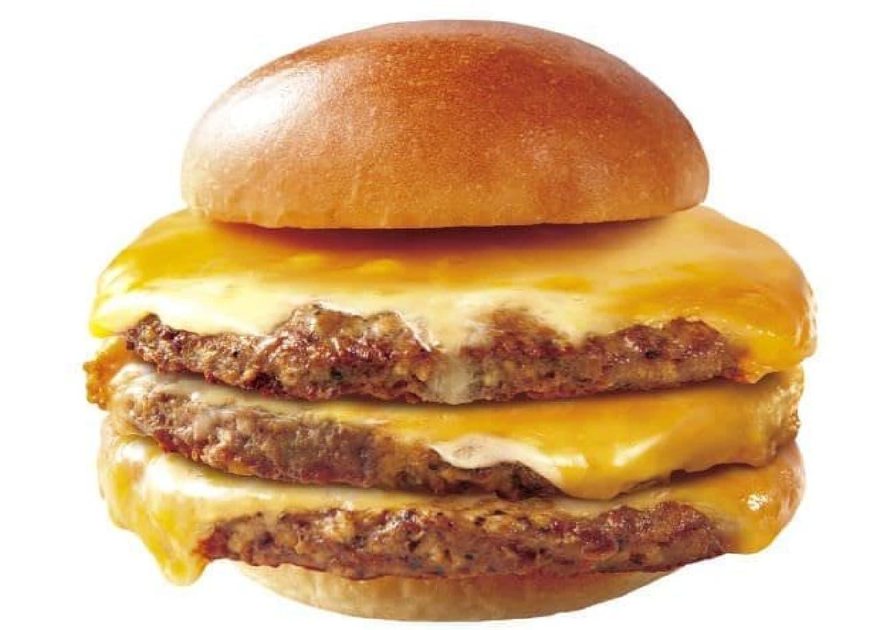 「肉がっつりトリプル絶品チーズバーガー」は絶品チーズハンバーグパティが3枚重ねられたバーガー