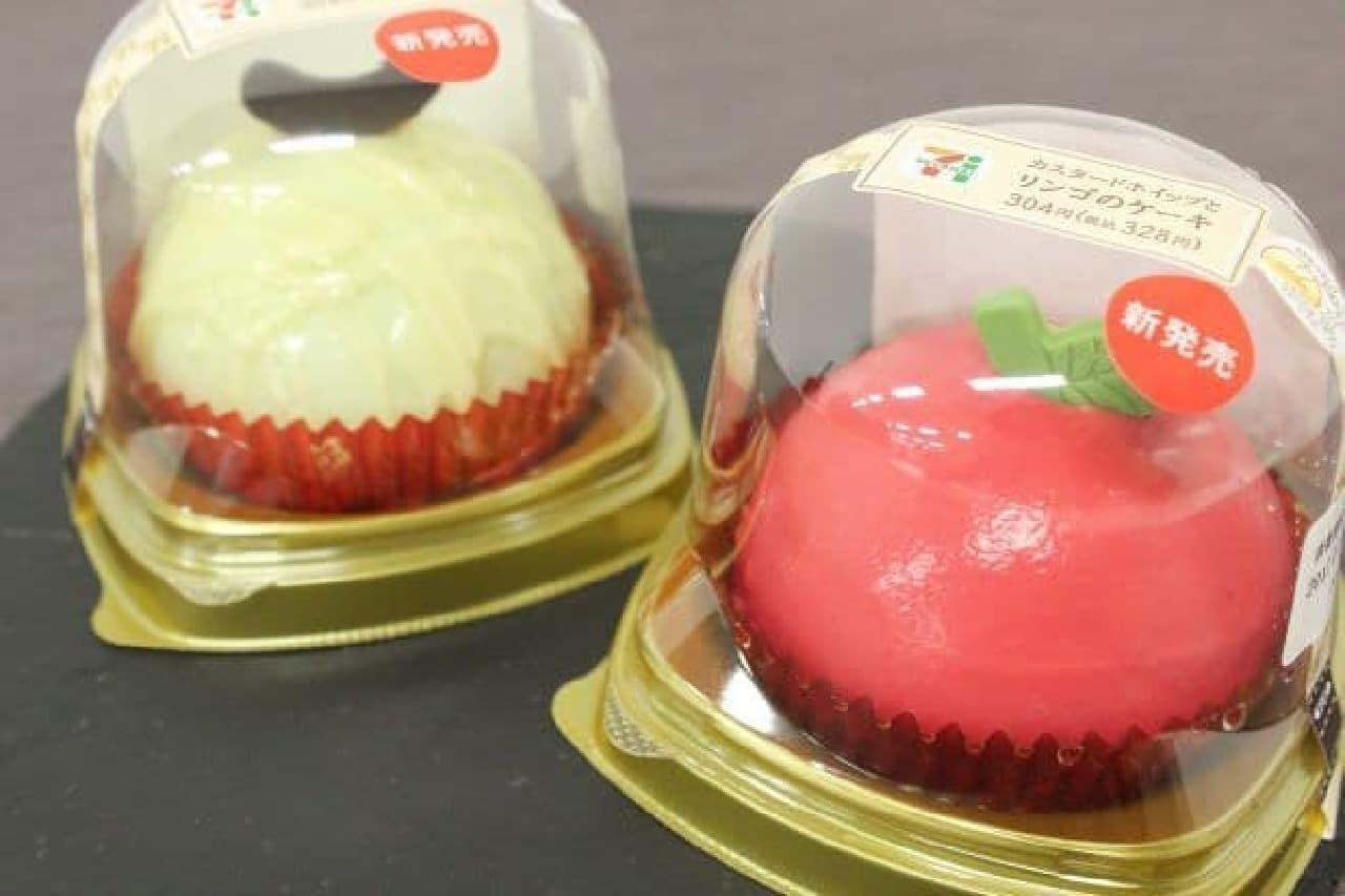 セブンのスイーツの新商品「カスタードホイップとリンゴのケーキ」と「メロンとミルクプリンのケーキ」