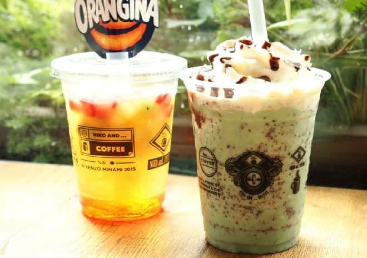 「niko and... COFFEE」で飲める「チョコミントスムージー」と「アイスフルーツオランジーナ」