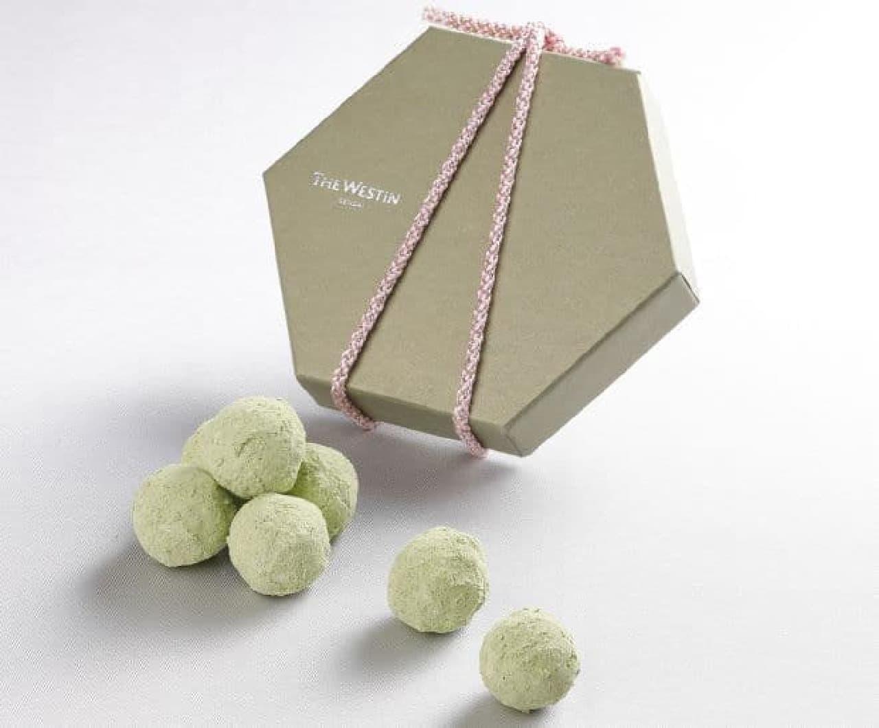 「ショコラ de ずんだ」はモチモチのぎゅうひとクリスピーなシリアルがガナッシュで包まれたトリュフ型生チョコレート