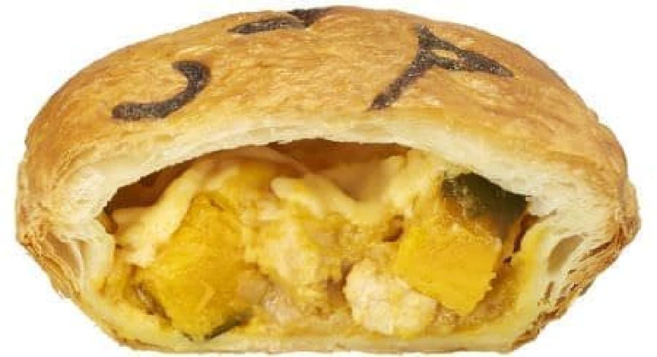 「かぼちゃとチキンのチーズグラタン」は、カボチャが使われたセイボリーパイ