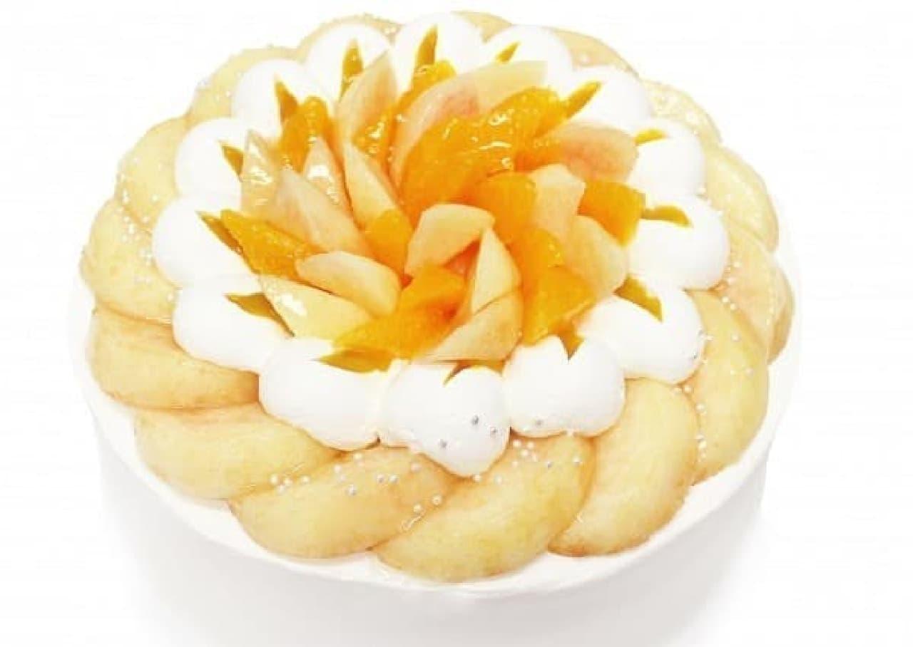カフェコムサ「白桃のショートケーキ」