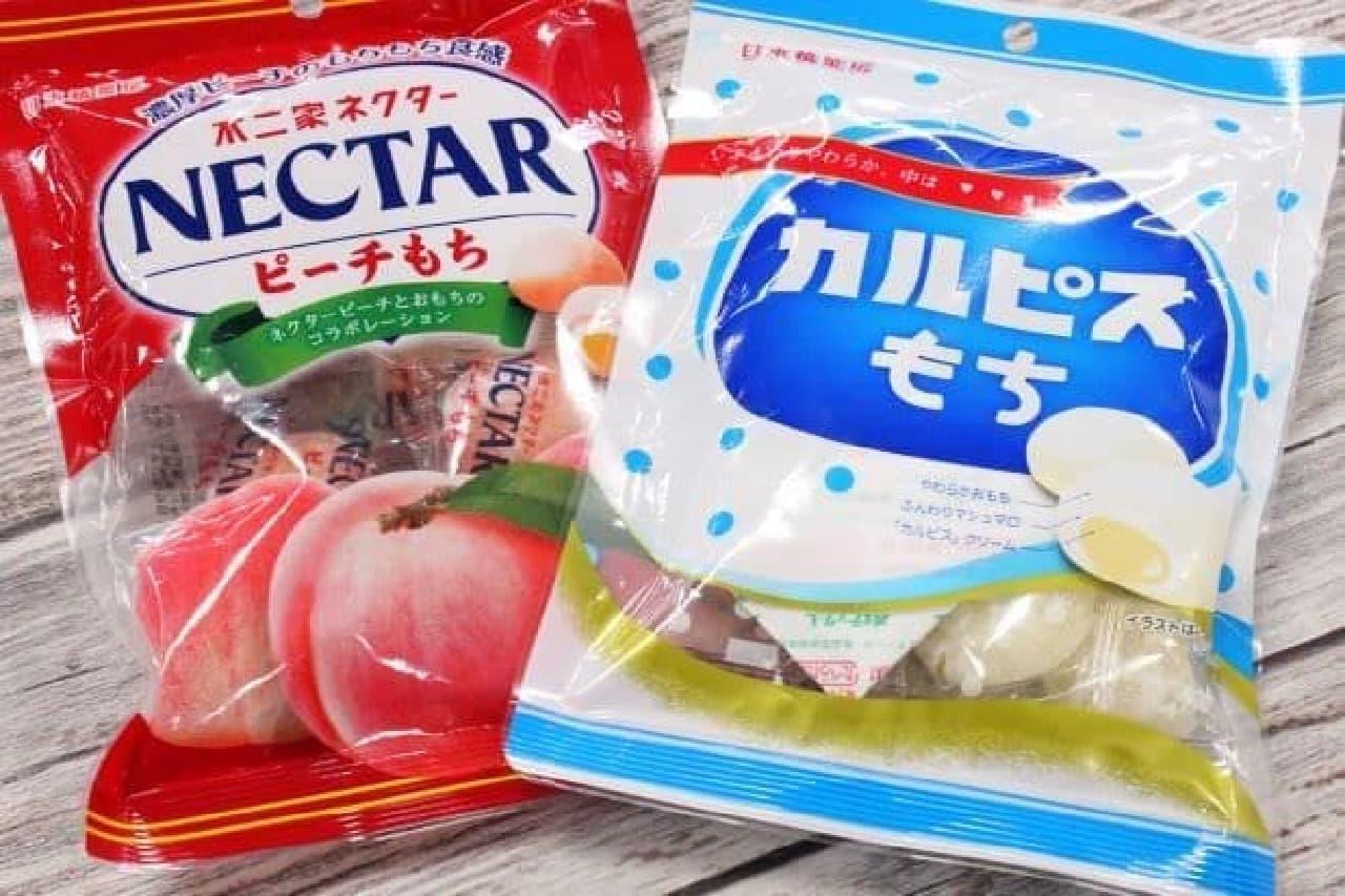 「カルピスもち」と「ネクターピーチもち」は日本橋菓房がカルピス社や不二家と開発したコラボレーション商品