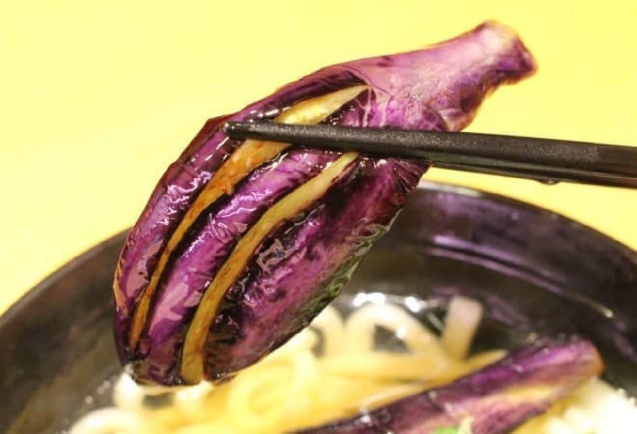 スシロー「お肉と揚げ茄子のおうどん」