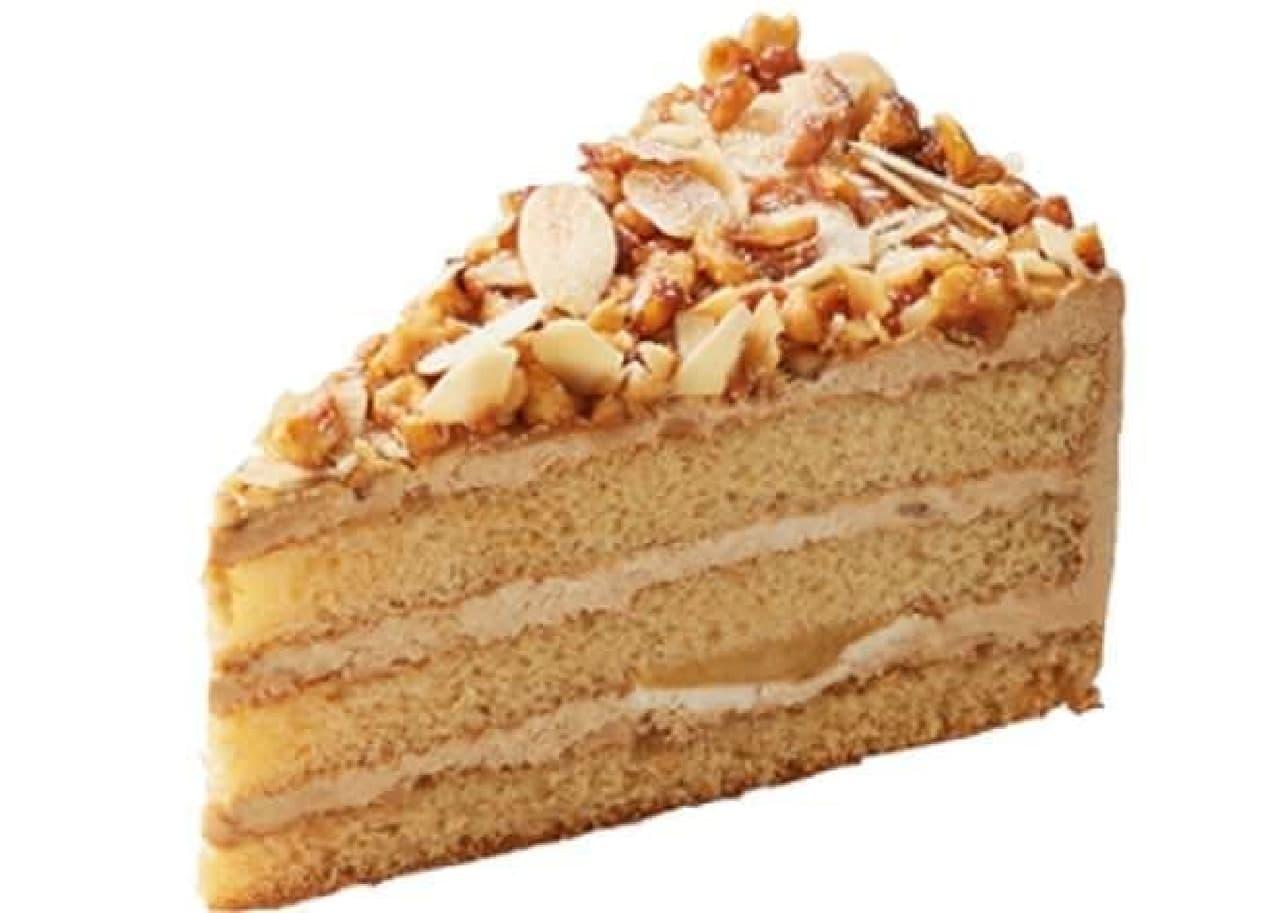 「キャラメルバナナッツ」はビターなキャラメルホイップとバナナのスポンジケーキにナッツがトッピングされたケーキ