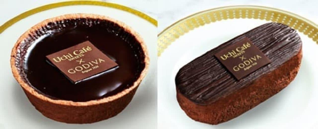 ローソン「Uchi Cafe SWEETS×GODIVAショコラタルト」と「同ガトーショコラ」