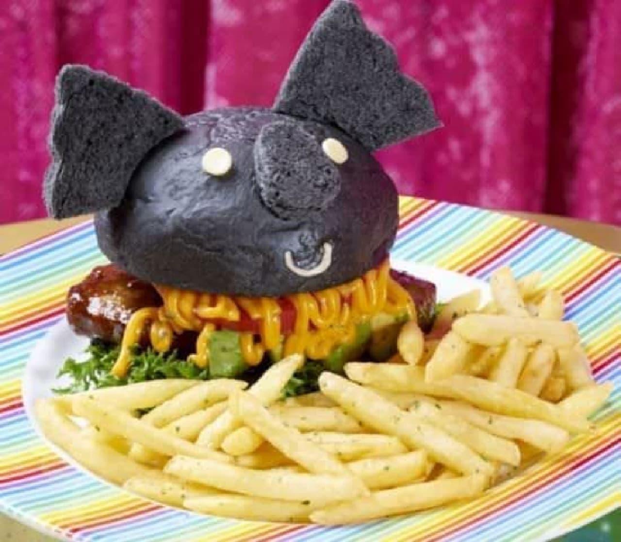 「ダークコアマーバーガーセット」は、黒いコアラのマーチがバーガーになったメニュー