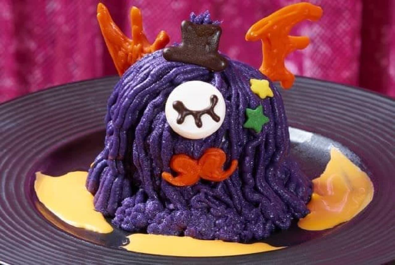 「けむくじゃらCHOCOTTO モンスター ドリンクセット」は、紫のマロンクリームの中にパイの実とチョコパイ、栗の甘露煮が入ったスイーツ