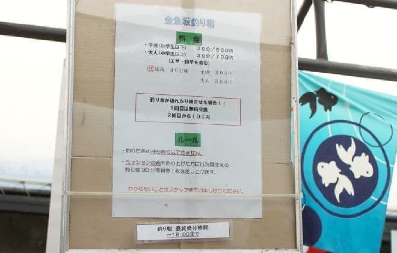 本郷三丁目にある喫茶店「金魚坂」の釣堀ルール