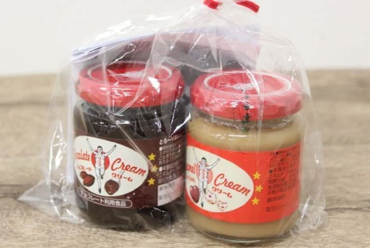 グリコから販売されているチョコレートクリームとキャラメルクリームのセット