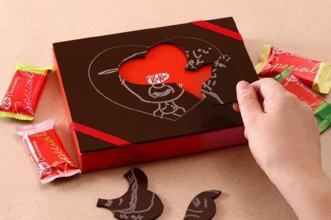 キットカットショコラトリー似顔絵パズルギフトはチョコのパッケージに手書きの似顔絵やメッセージを刻印したギフトを作れるサービス