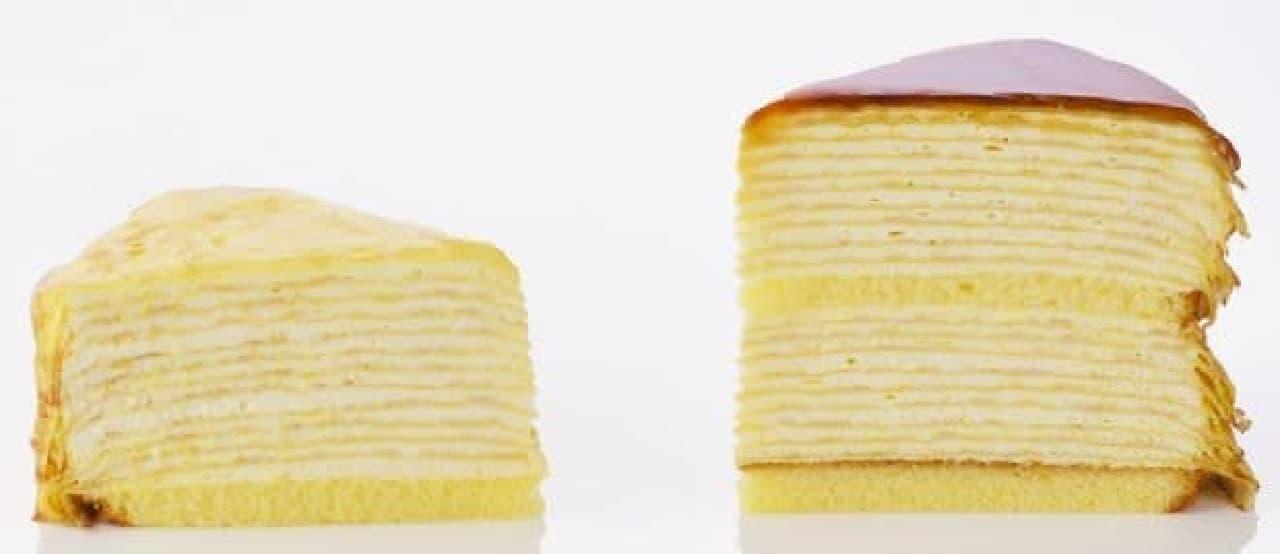 ジャンボミルクレープはクレープの皮19枚とクリームを層にした高さ1.4倍(銀座コージーコーナー通常品比)のジャンボなミルクレープ