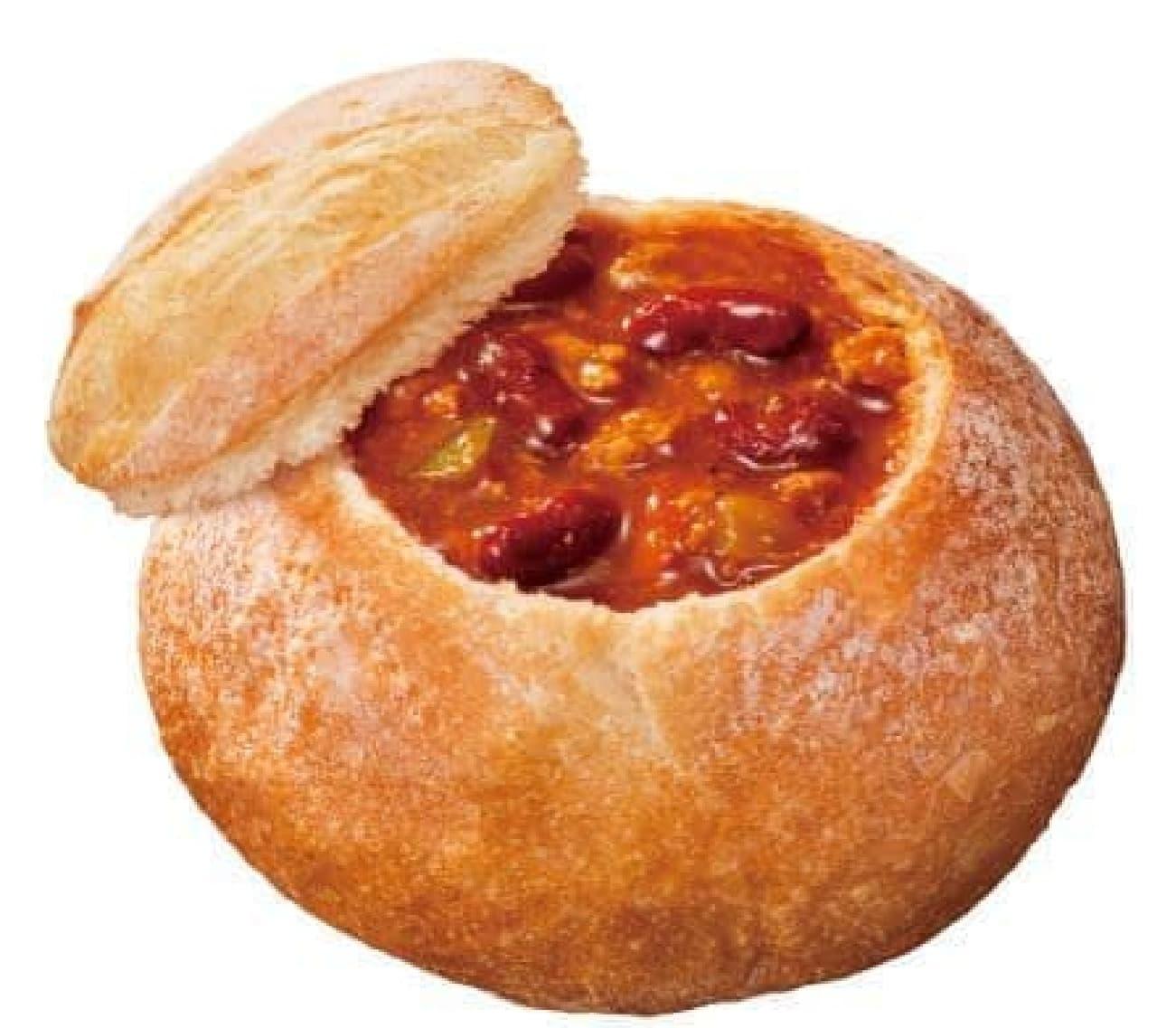 ウェンディーズの人気メニューであるウェンディーズチリが入ったスープパン